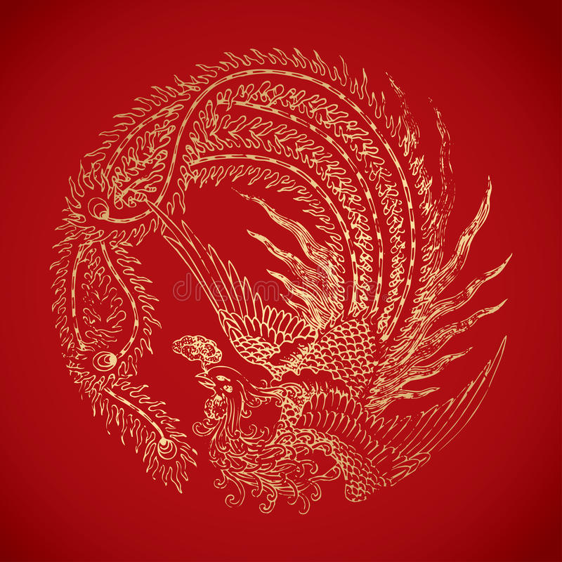 Chinese vintage Phoenix elements on classic red background vector illustration