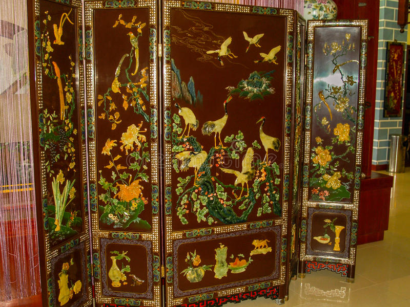 Chinese vintage screen with cranes landscape stock image