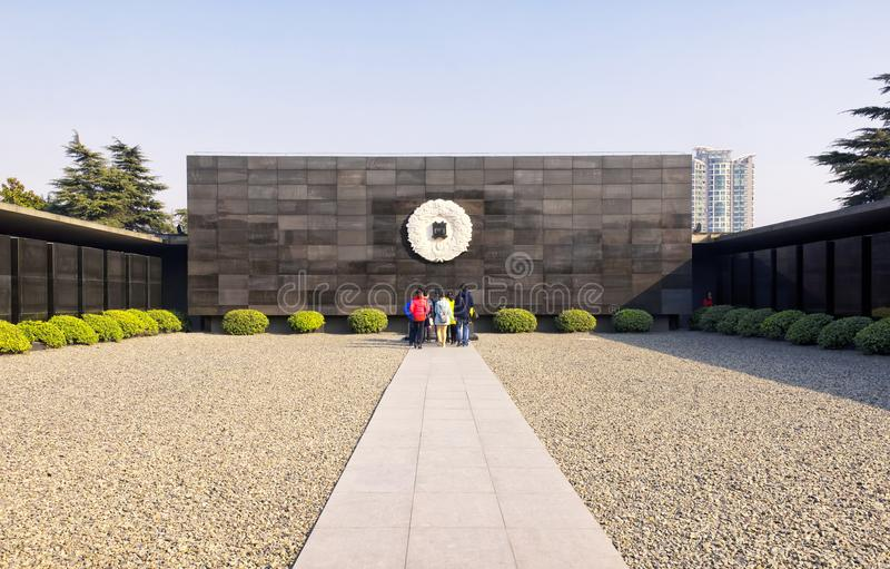 Nanjing Massacre Museum Site. Chinese visitors walking into the Nanjing Massacre site and museum in Nanjing China located in Jiangsu Province royalty free stock images
