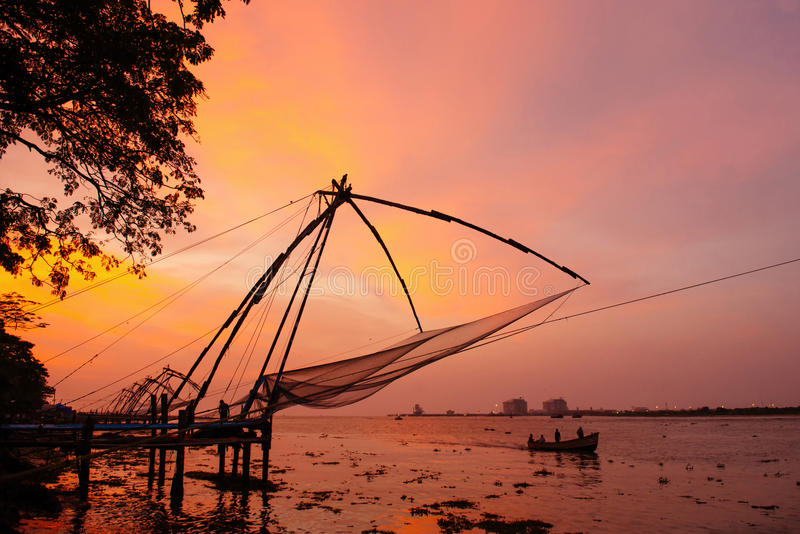 Chinese Visnetten in Fort Kochi royalty-vrije stock foto's