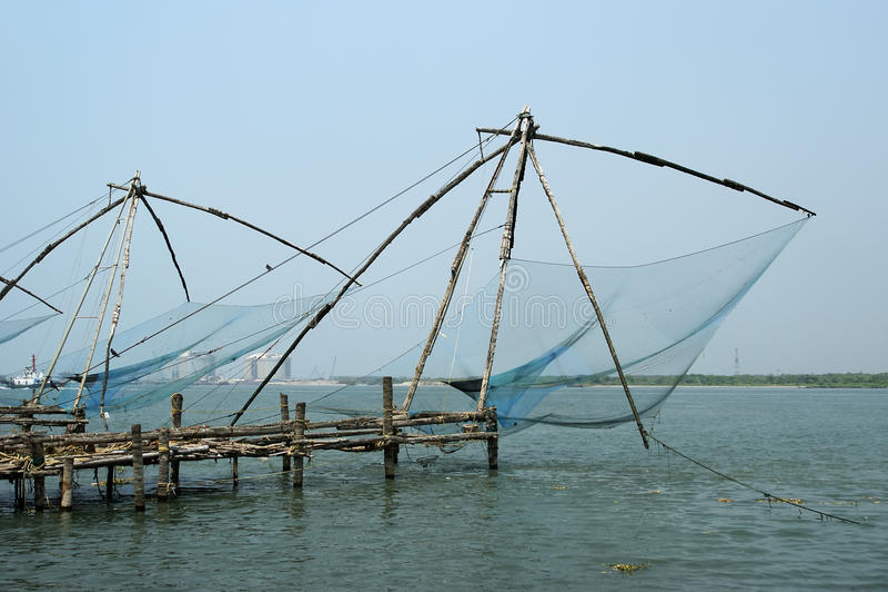 Chinese visserijnetten, Cochin, Zuid-India stock afbeeldingen