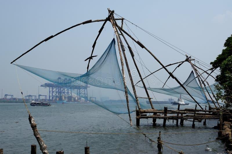 Chinese visserijnetten, Cochin, Zuid-India royalty-vrije stock foto