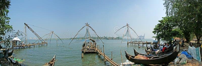 Chinese visserijnetten, Cochin, Zuid-India royalty-vrije stock afbeelding