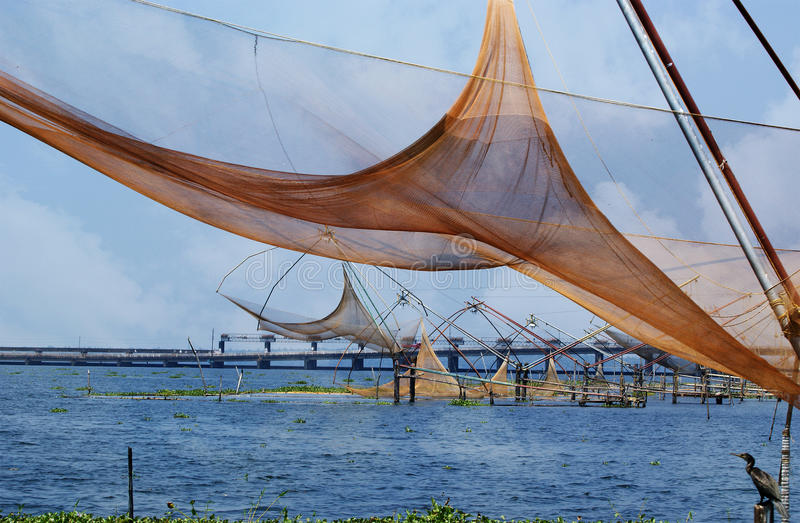 Chinese visserijnetten. Het Meer van Vembanad stock fotografie