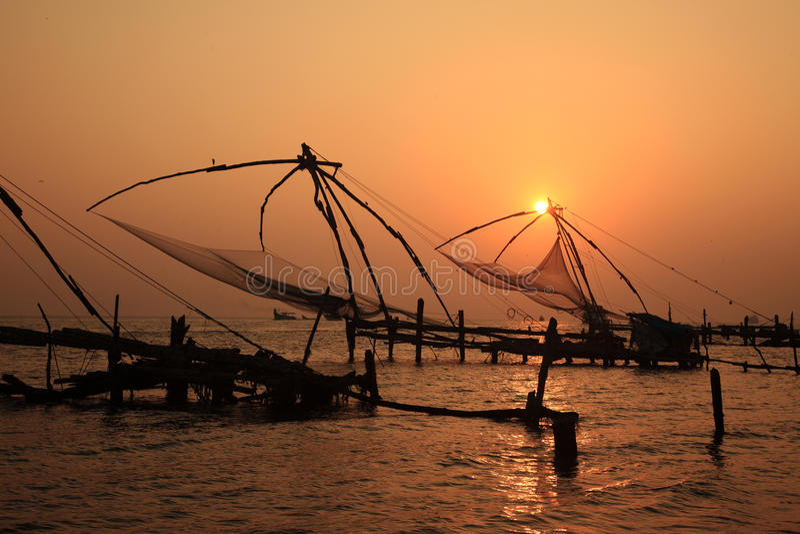 Chinese visserijnetten van fort cochin royalty-vrije stock foto