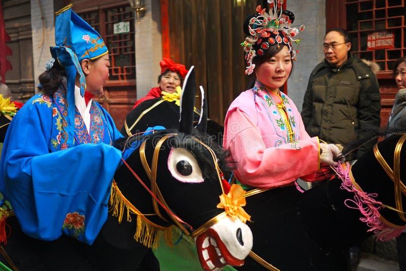 Chinese volksdansactrice royalty-vrije stock foto's