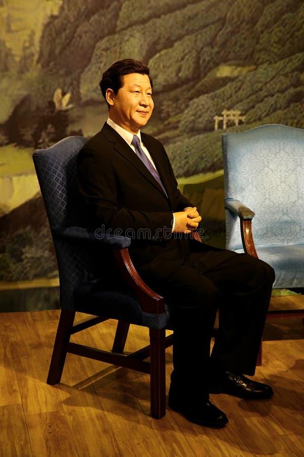 Chinese voorzitter xi jinping wasstandbeeld bij Mevrouw tussauds in Hongkong stock afbeeldingen