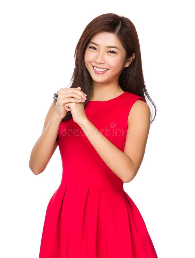 Chinese Vrouw die gelukkig u zegenen royalty-vrije stock afbeelding