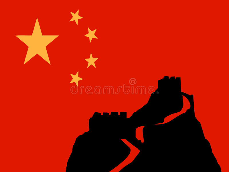 Chinese wall with flag vector vector illustration