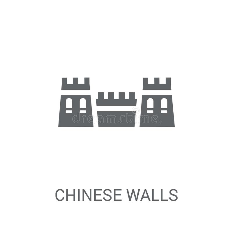 Chinese walls icon. Trendy Chinese walls logo concept on white b royalty free illustration