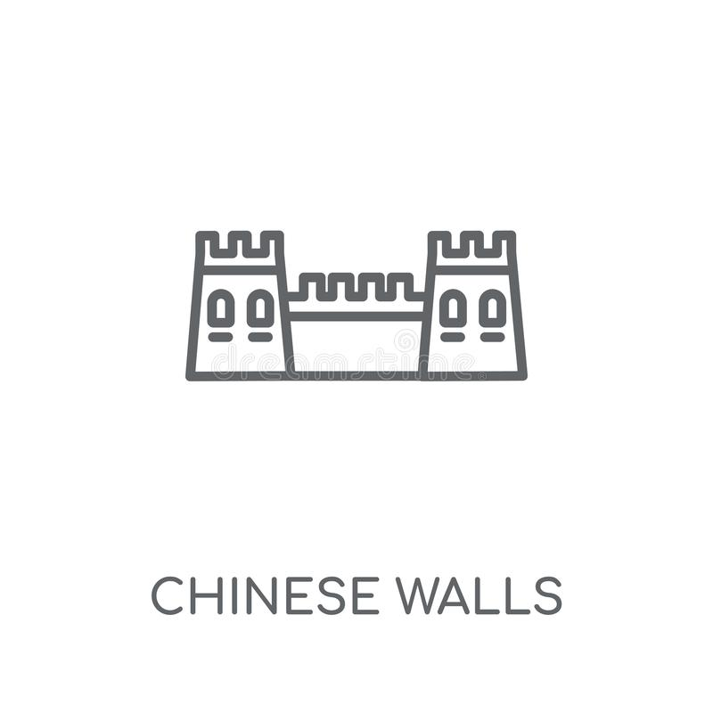 Chinese walls linear icon. Modern outline Chinese walls logo con vector illustration