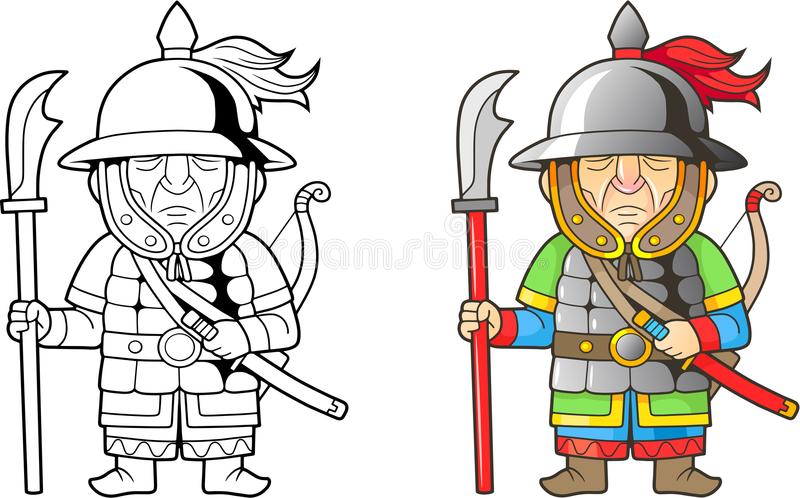 Chinese warrior, funny illustration, coloring book stock illustration