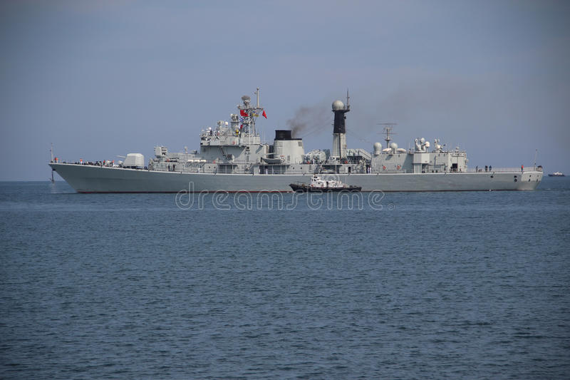 Chinese warship leaves the Port stock image