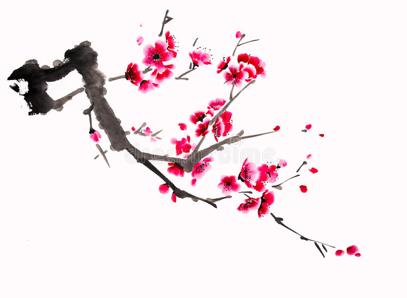 Black And White Cherry Blossom Painting