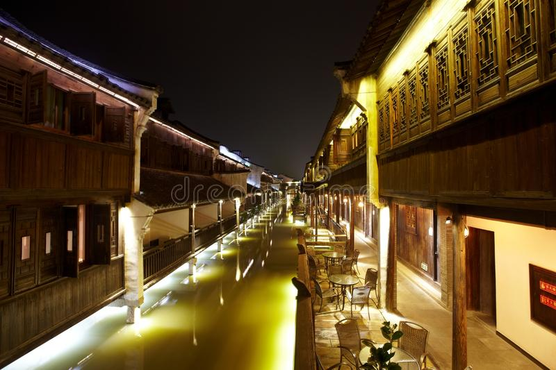 The Chinese watery town buildings. And marina by the river of night scenic,wuzhen,jiangsu,China royalty free stock photography