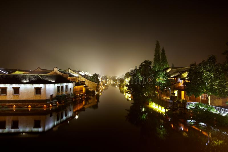 The Chinese watery town buildings. And marina by the river ,wuzhen,jiangsu,China stock photos