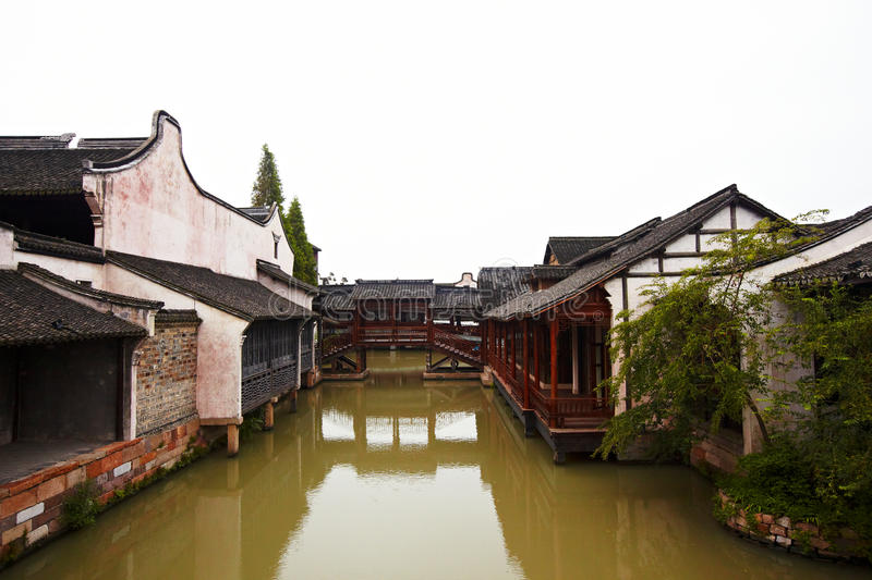 The Chinese watery town buildings. And marina by the river ,wuzhen,jiangsu,China stock photography