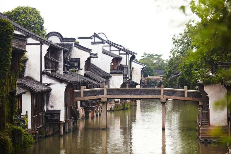 The Chinese watery town buildings. And marina by the river ,wuzhen,jiangsu,China royalty free stock photography