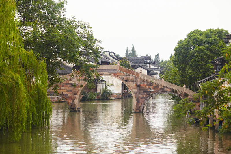 The Chinese watery town buildings. And marina by the river ,wuzhen,jiangsu,China stock photo