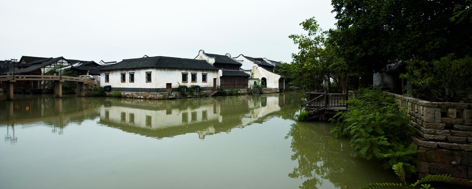 The Chinese watery town buildings. And marina by the river ,wuzhen,jiangsu,China stock images