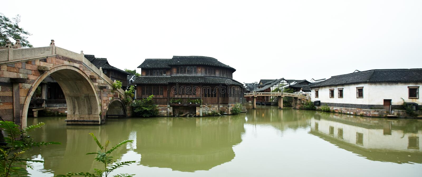The Chinese watery town buildings. And marina by the river ,wuzhen,jiangsu,China royalty free stock images