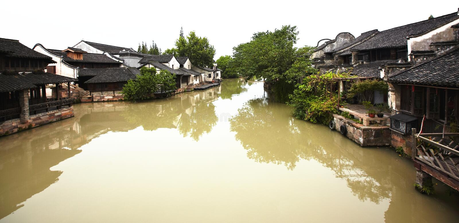 The Chinese watery town buildings. And marina by the river ,wuzhen,jiangsu,China royalty free stock image