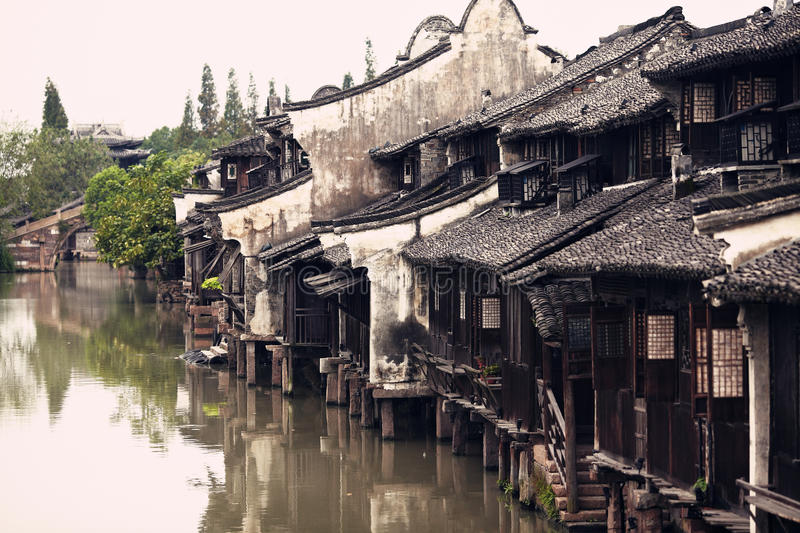 The Chinese watery town buildings. And marina by the river ,wuzhen,jiangsu,China royalty free stock photos