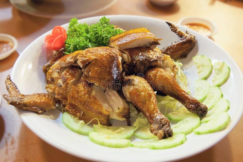 Chinese Whole Roast Chicken Closeup royalty free stock photo