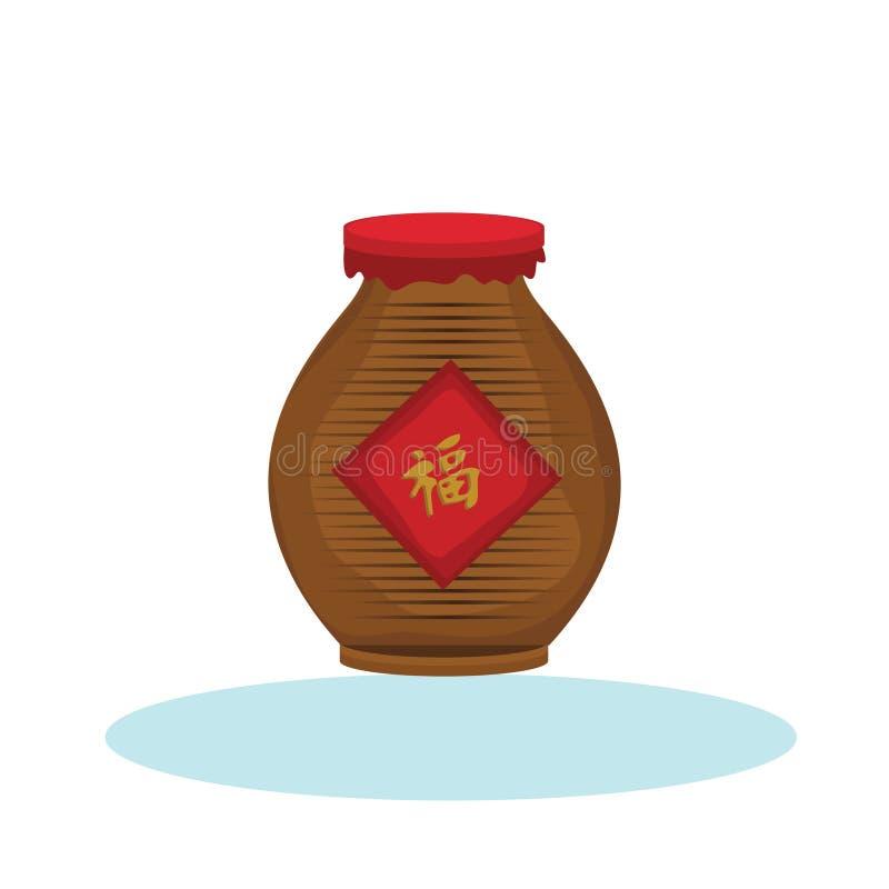 Free Chinese Wine Jar. Vector Illustration Decorative Design Royalty Free Stock Image - 189101216