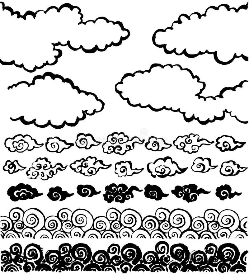 Chinese wolk. de met de hand geschreven illustraties van de borstelslag. royalty-vrije illustratie