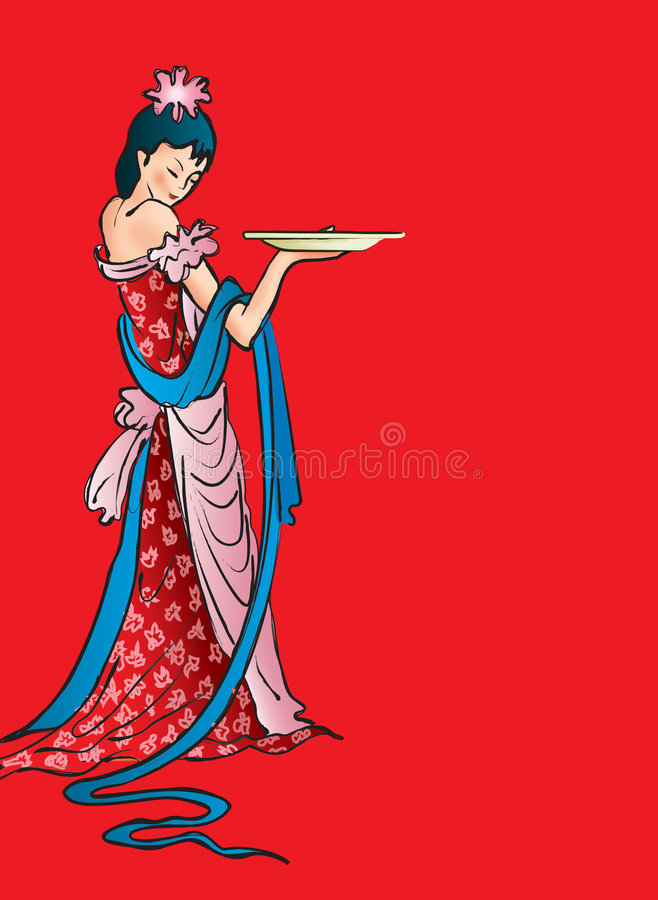 Chinese woman vector illustration