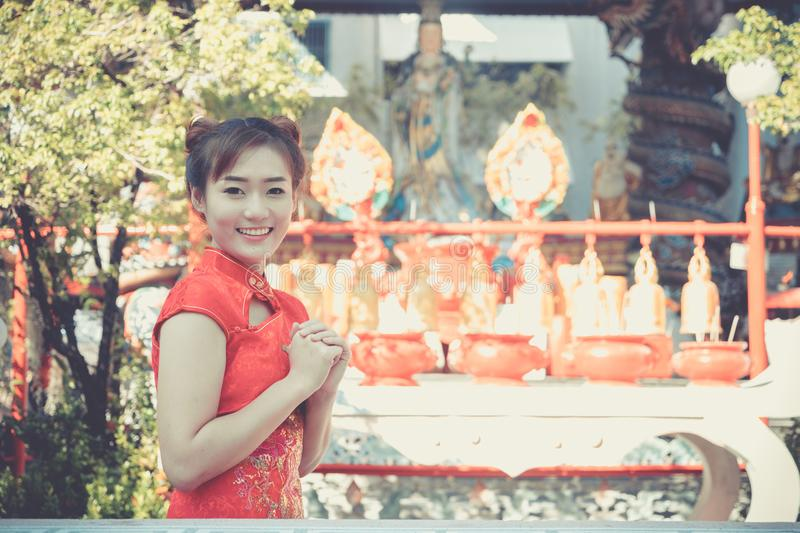 Chinese woman. Asian young girl wearing China Traditional dressing for Chinese new year culture. stock photography