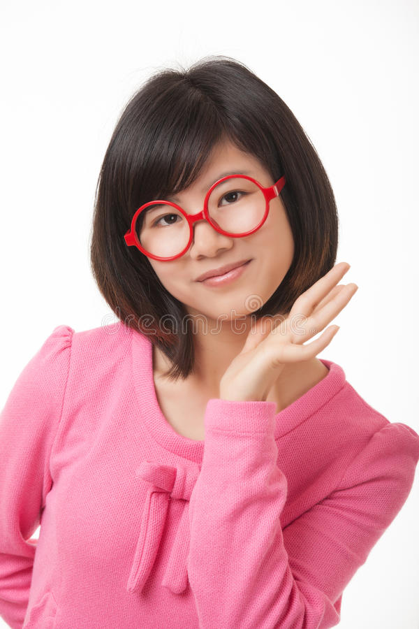Asian Woman displaying attitude isolated on white background royalty free stock photography