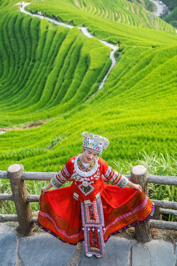 Woman in folk costume Longji Rice Terraces stock photos