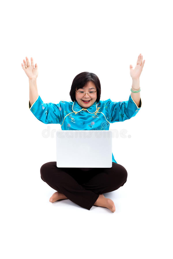 Download Chinese Woman With Laptop, Looking Very Excited Stock Image - Image: 29475391