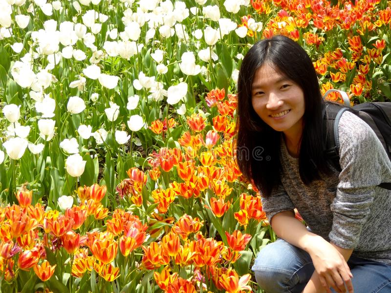 Chinese woman squatting down in front of white,orange tulips stock image