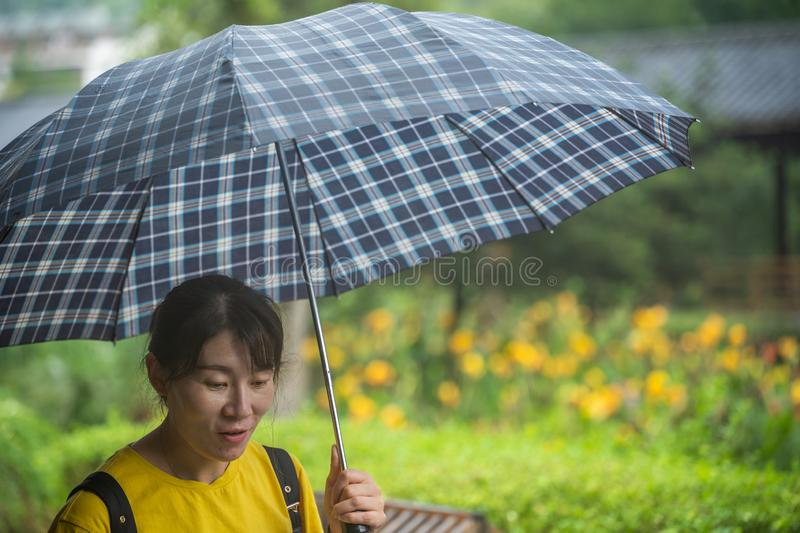 Chinese woman with an umbrella royalty free stock photography