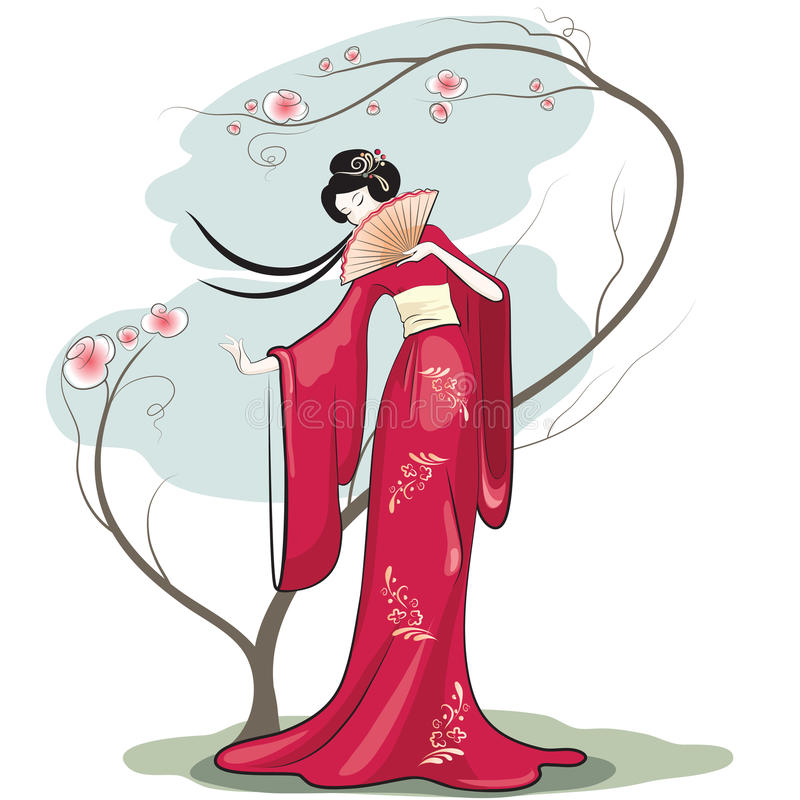 Chinese woman royalty free illustration