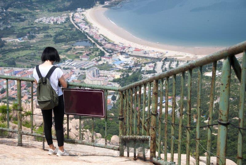 Chinese woman visiting laoshan in Qingdao China stock photos