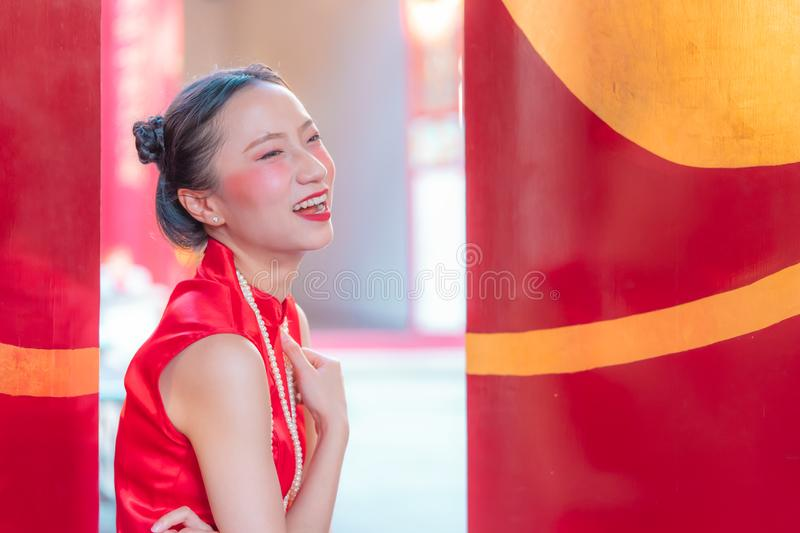 Chinese woman wearing cheongsam for chinese new year concept royalty free stock photos