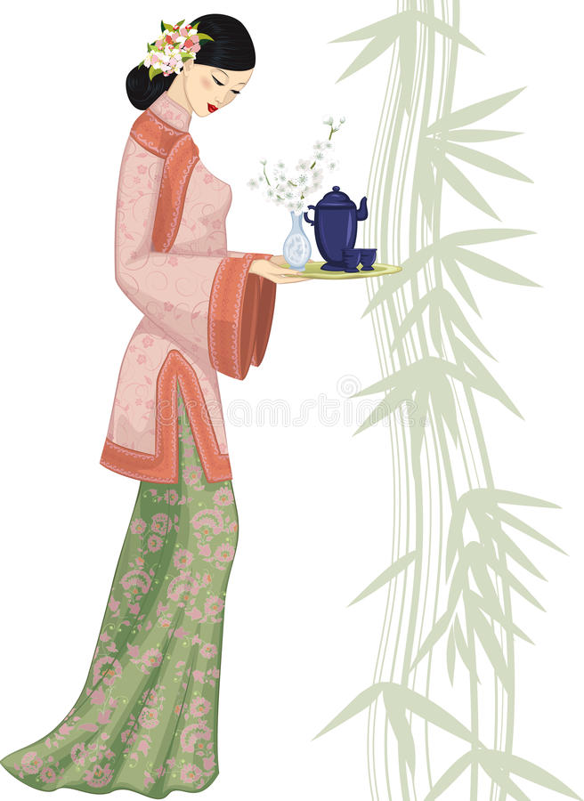 Free Chinese Woman With Tray Stock Photos - 22860883