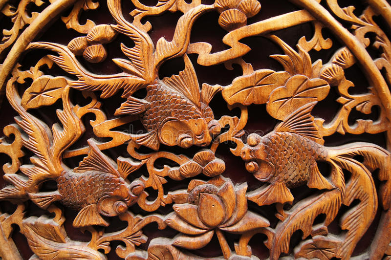 Download Chinese wood carving stock image. Image of goldfish, decoration - 16216173