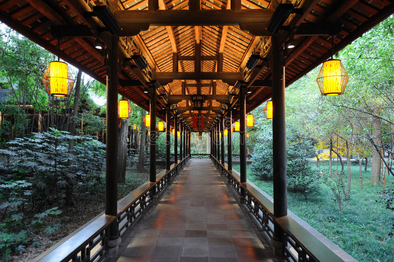 Chinese wooden corridor. Chinese long corridor at night in Chengdu DuFu thatched cottage stock photography