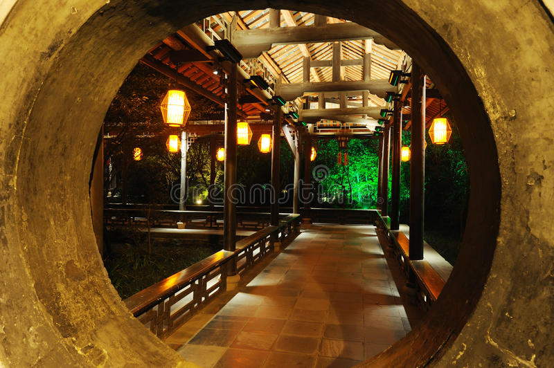 Chinese wooden corridor. Chinese long corridor at night in Chengdu DuFu thatched cottage royalty free stock photo