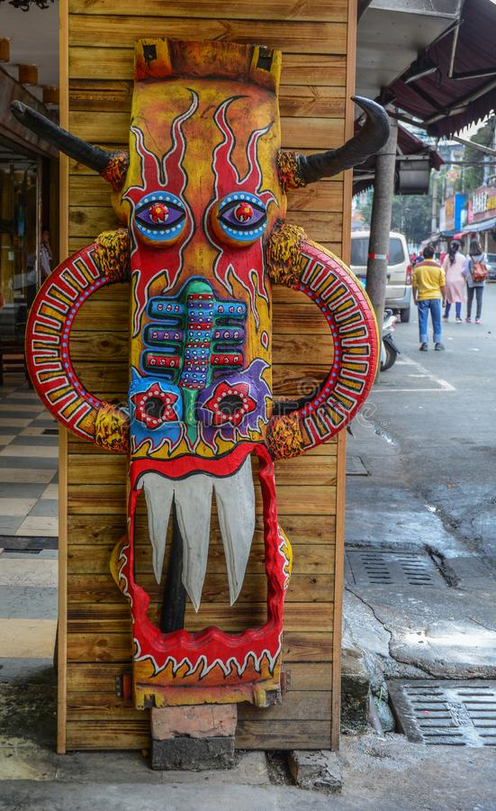 Chinese wooden mask in the market royalty free stock photography