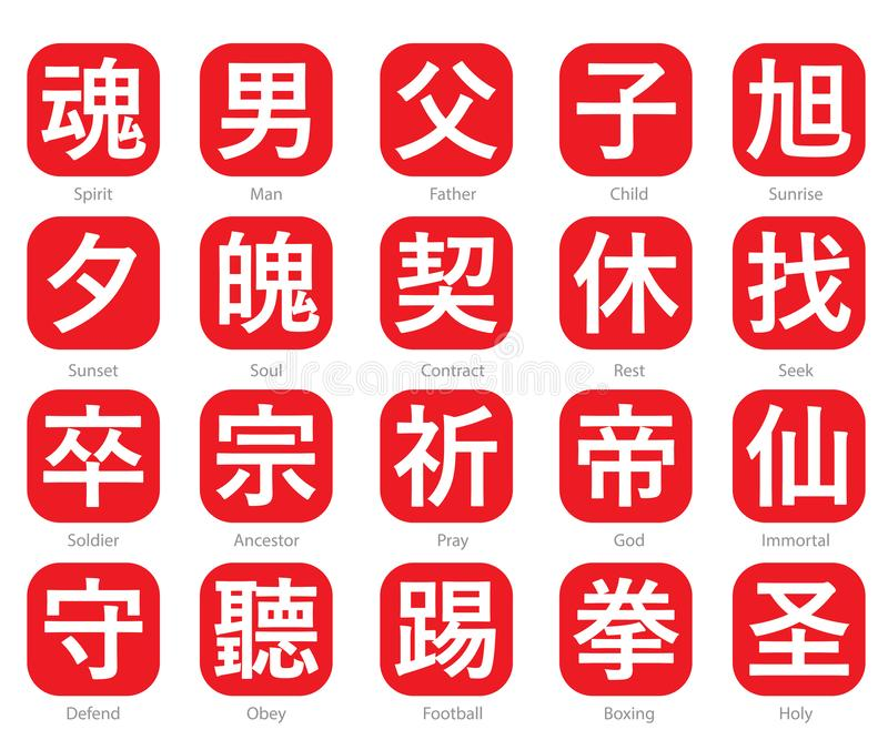 Chinese Word Logo in red cubic box set 1. The Chinese words logo in the red cubic box with the translation of each word royalty free illustration