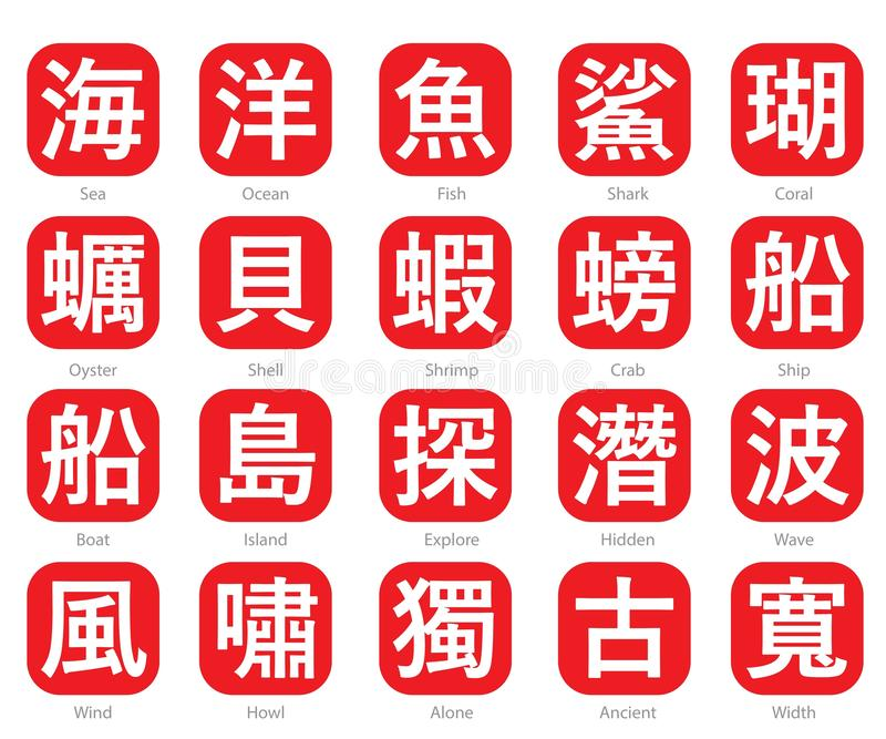 Chinese Word Logo in red cubic box set 10. The Chinese words logo in the red cubic box with the translation of each word vector illustration