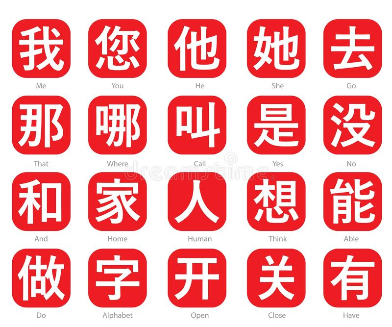 Chinese Word Logo in red cubic box set 21. The Chinese words logo in the red cubic box with the translation of each word royalty free illustration