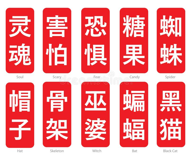 Chinese Word Logo in red cubic box set 19. The Chinese words logo in the red cubic box with the translation of each word royalty free illustration