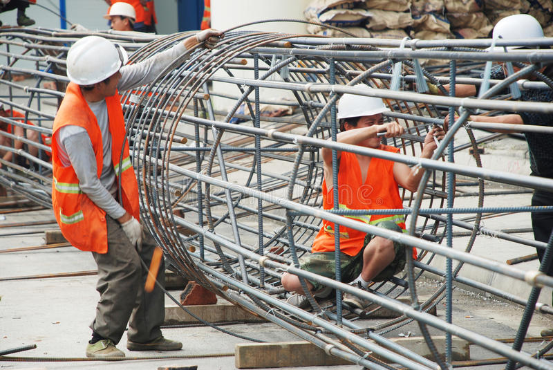Chinese worker construction lattice royalty free stock photo